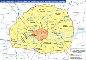 Map of extended ULEZ Zone from October 2021